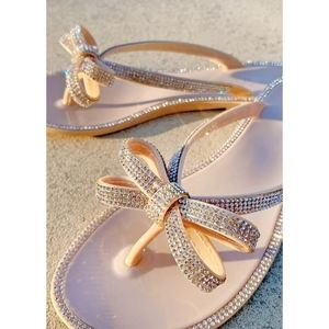 Just In!🖤💎Bow In Jewel Jelly Thong Sandal- NUDE